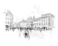 copenhaghen denmark europa Illustrazione disegnata a mano di vettore illustrazione di stock