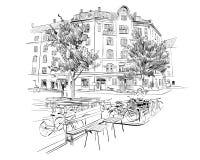 copenhaghen denmark europa Illustrazione disegnata a mano di vettore royalty illustrazione gratis
