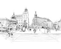 copenhaghen denmark europa Illustrazione disegnata a mano di vettore illustrazione vettoriale