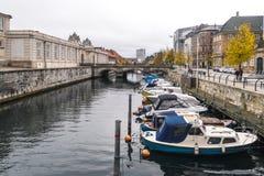 Copenhaghen - 23 ottobre 2016: Vista al ponte di Marmorbroen ed all'area vicina Fotografia Stock Libera da Diritti