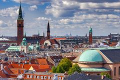copenhaghen Vista aerea della città immagini stock libere da diritti