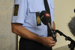 COPENHAGN POLICE HOLD JOINT PRESS CONFERENCE Royalty Free Stock Photo