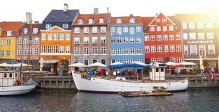COPENHAGUE, DANEMARK - 31 MAI 2017 : bannière panoramique du Nyha photos stock