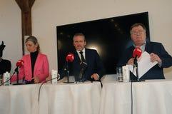 Copenhague/Danemark 15 Novembre 2018 Trois ministres du Danemark ministre danois d'Anders Samuelsen des affaires étrangères minis images libres de droits