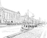 copenhague denmark l'europe Illustration tirée par la main de vecteur illustration de vecteur