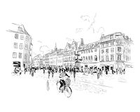 copenhague denmark l'europe Illustration tirée par la main de vecteur illustration stock