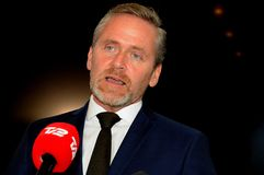 Copenhague/Dinamarca 15 En noviembre de 2018 Los tres ministros ministro danés de Dinamarca de Anders Samuelsen para los asuntos  imagen de archivo libre de regalías