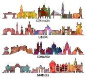 Copenhague triangular, Lisboa, Edimburgo, Bruselas ilustración del vector
