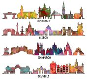 Copenhague triangular, Lisboa, Edimburgo, Bruselas fotografía de archivo
