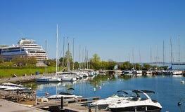 Copenhague, zona portuaria de Langelinie La mayoría del muelle de los barcos de cruceros aquí Imágenes de archivo libres de regalías