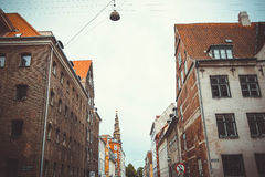 Copennhagen oldstreet and Church of Our Saviour. Stock Images