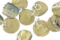 Coperchi del barattolo di latta con l'apri Fotografie Stock Libere da Diritti