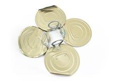 Coperchi del barattolo di latta con l'apri nella forma di trifoglio Immagini Stock Libere da Diritti