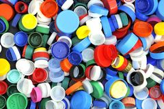 Coperchi a vite di plastica Fotografie Stock Libere da Diritti