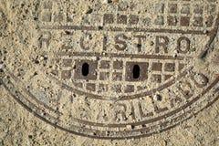 Coperchio di botola arrugginito Fotografia Stock Libera da Diritti