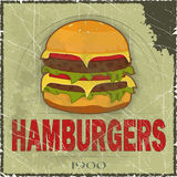 Coperchio di Grunge per il menu degli alimenti a rapida preparazione Fotografie Stock
