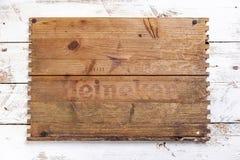 Coperchio di una scatola di legno di birra di Heineken fotografia stock libera da diritti