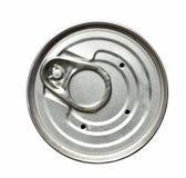 Coperchio isolato del barattolo di latta su bianco Fotografie Stock Libere da Diritti