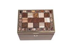 Coperchio piastrellato di una scatola di legno per tutti gli usi antica Fotografie Stock