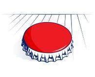 Coperchio rosso d'acciaio della bottiglia Fotografie Stock Libere da Diritti
