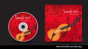 Coperchio rosso di DVD con il violino e le note Immagine Stock
