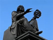 Copernicus statue in Warsaw. Nicholas Copernicus memorial in Warsaw (Unveiled in 1830). One of 3 identical copies from the same mould (other 2 are in Montreal Royalty Free Stock Photo