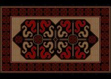 Coperta d'annata luminosa di lusso con i draghi etnici del modello Immagini Stock