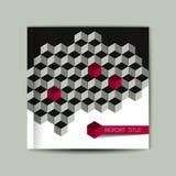 Copertina dell'opuscolo modello di grey del cubo 3D Immagine Stock