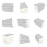 copertina di libri dello spazio in bianco 3D sopra fondo bianco Fotografie Stock Libere da Diritti