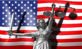 Copertura circa legge Statua del dio di giustizia Themis con la bandiera degli Stati Uniti illustrazione di stock