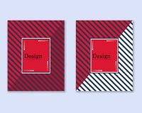 Copertura con le linee diagonali nere e rosse con spazio per testo, progettazione semplice Opuscolo del modello di vettore, inseg illustrazione di stock