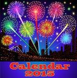 Copertura del calendario con la città di notte dei fuochi d'artificio Immagini Stock