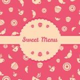 Copertura del menu dei dolci con il modello senza cuciture di vettore Fotografie Stock Libere da Diritti
