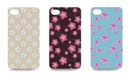 Copertura del telefono cellulare indietro messa con il modello floreale Fotografia Stock