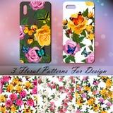 Copertura del telefono con le rose e le farfalle Fotografia Stock