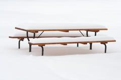 Copertura della tabella di picnic con la neve Fotografie Stock Libere da Diritti