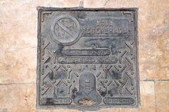 Copertura di botola, la passeggiata Explanada della Spagna in Alicante Fotografie Stock