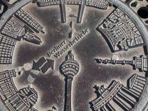 Copertura di botola di Wasserbetriebe del berlinese immagini stock libere da diritti