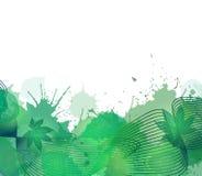 Copertura di estate con le linee variopinte del fumo, foglie Immagini Stock