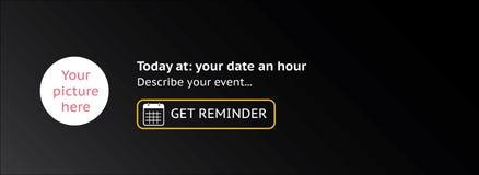 Copertura di evento con l'icona del calendario, illustrazione di vettore Stile piano di progettazione - scatola per l'aggiunta de Fotografia Stock Libera da Diritti