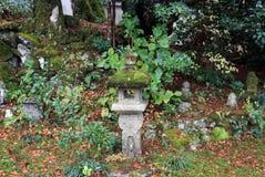 Copertura di pietra della lanterna dal muschio del lichene nel giardino verde Jikko-nel tempio immagine stock