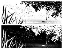 Copertura di vettore per le reti sociali, con l'immagine di estate, del giorno e della notte illustrazione vettoriale