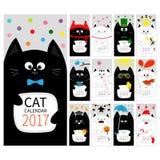 Copertura mensile verticale del calendario 2017 del gatto Tutto il mese Giorno felice di St Patrick dei biglietti di S. Valentino Fotografia Stock Libera da Diritti