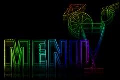 Copertura per un menu con un'insegna al neon Immagine Stock Libera da Diritti