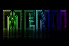 Copertura per un menu con un'insegna al neon Fotografie Stock Libere da Diritti