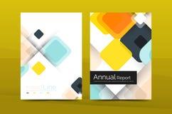 Copertura quadrata variopinta del rapporto annuale di affari di vettore Fotografia Stock
