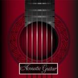 Copertura rossa di musica della chitarra acustica Immagini Stock Libere da Diritti