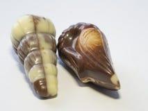Coperture alte vicine della frutta del mare del nougat del chocholate di due macro sulle sedere bianche Fotografia Stock Libera da Diritti