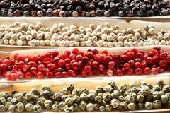 Coperture del mare delle spezie dei granelli di pepe Immagini Stock Libere da Diritti