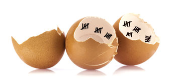 Coperture dell'uovo con di conteggio i segni giù Immagine Stock Libera da Diritti